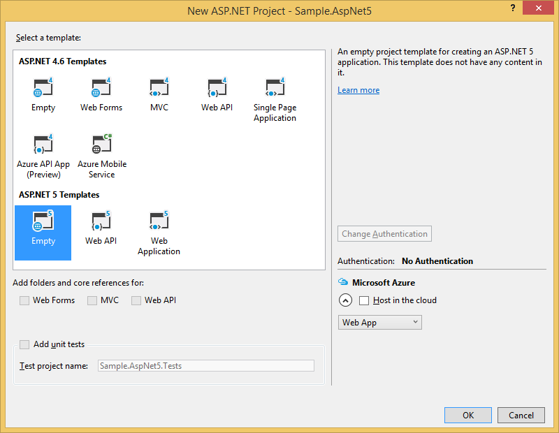 Creating an ASP.NET 5 project