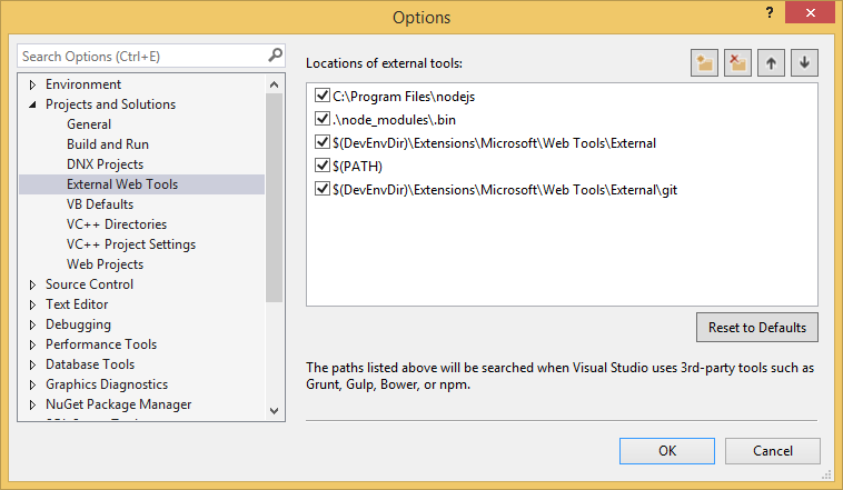 Visual studio config